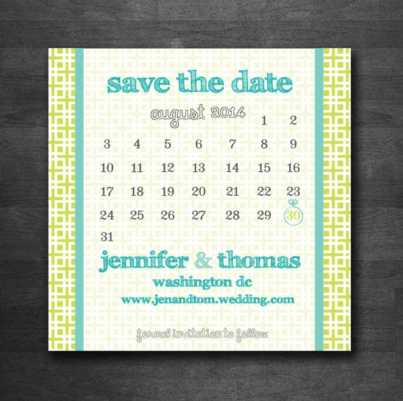 Calendar Square DIY Printable Save the Date Postcard