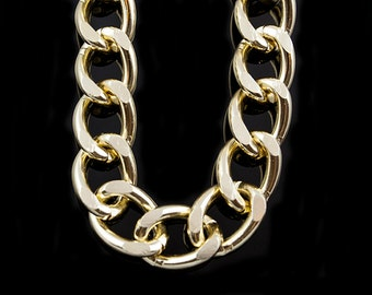 22x17mm Gold Plated Aluminum Curb Chain, Open Link Chain, Pkg of 1m(1.1 yards.), N086.LG02.L1M
