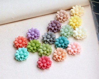 Mixed 16 Colors Flower Resin Cabochon, 10mm, Pkg of 16 pcs, C09Q.MX93.P16