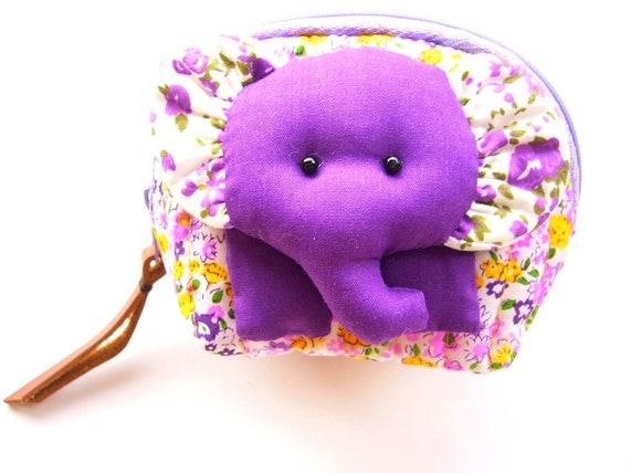 Elephant Purse, Purple Elephant, Handmade Purse with Elephant Patchwork and Genuine Leather Accents