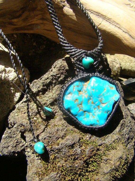 Big Natural Turquoise Stone Gemstone Macrame Pendant / Necklace Hand Made Micro Macrame Hypoallergenic Hemp Cord choker