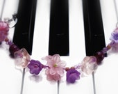 Handmade lucite flowers bracelet, miracle beads and glass flowers