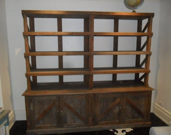 Reclaimed wood pine hutch bookcase.  USA made.