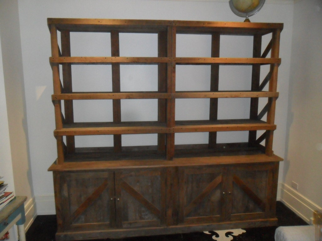 Recycled Wood Bookcase ~ Reclaimed wood pine hutch bookcase usa made