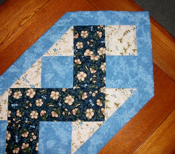 Etsy runner zig pattern Table FoothillsStitchery Zag zag on Quilted Runner Zig table Blue  by
