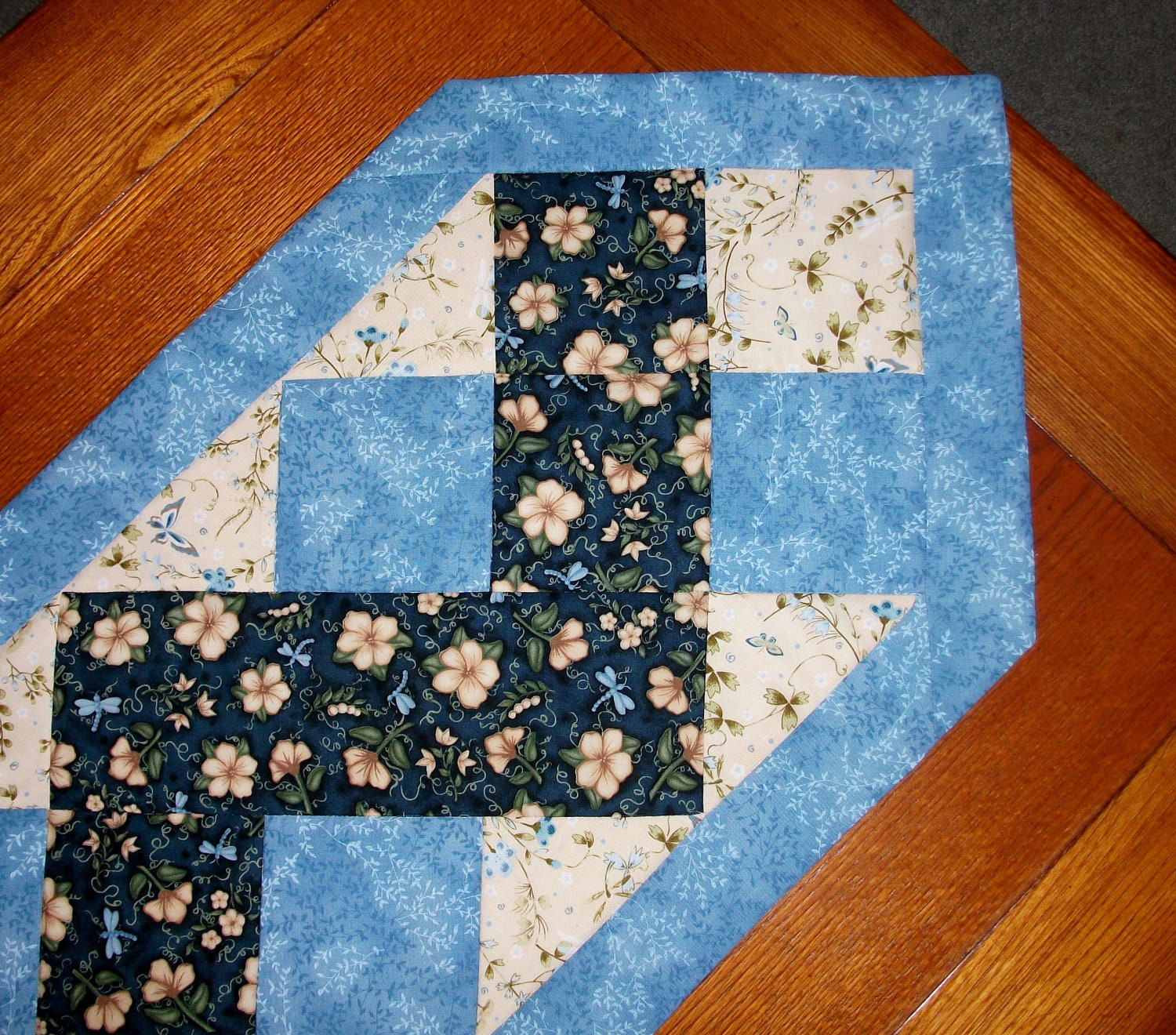 Quilted Table Runner Blue Zig Zag Reversible