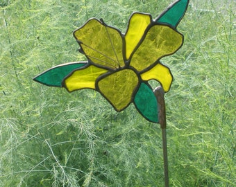 Yellow stained glass Lily