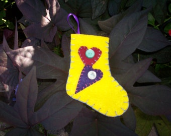 Stocking Ornament - Yellow Hearts