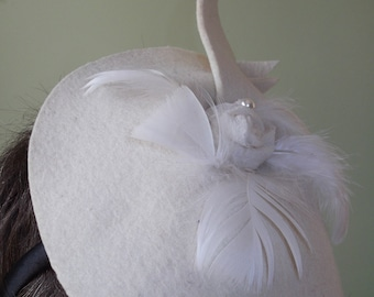 Felted white wedding fascinator hat