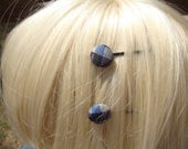 "Purple & Blue Silk ""Plaid Squares"" Button Bobby Pins - Set of 2"