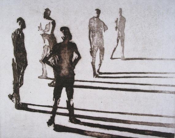 "Haunting Figure Print Dark Creepy Shadows Spooky Hand Pulled Intaglio Fine Art Aquatint Sugarlift ""Paths III"""