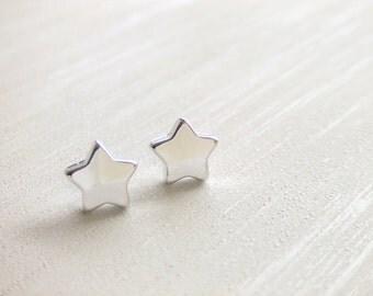 Little Star Jewelry Earrings, Silver Plated, Simple Earrings, Stud Earrings, Gift for Her, Under 10