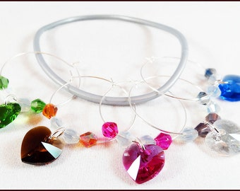 Wine Glass Charms Crystal, Wine Charms, Glass Markers, Glass Tags, Holiday Gift, Hostess Gifts, Swarovski Element