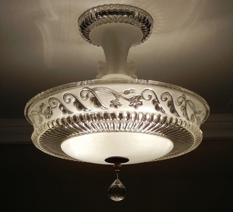 Vintage 1940 S Antique Frosted Pressed Glass Semi Flush