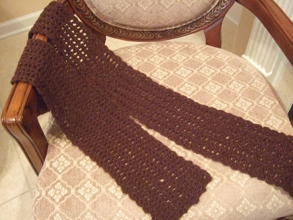 Chocolate Brown Shimmer Crocheted Scarf