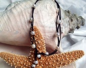 Wave Leather & Pearls Anklet