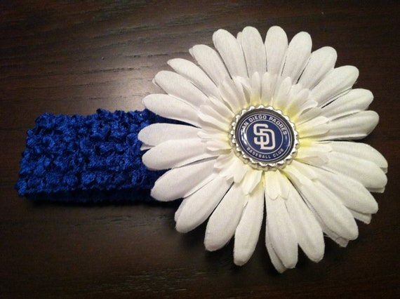 San Diego Padres Bottle Cap Flower Clip Headband