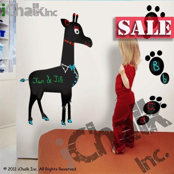 30% off - Giraffe Chalkboard Sticker Wall Decal for Home or Office - Blackboard Vinyl Sticker Chalkboard Planner