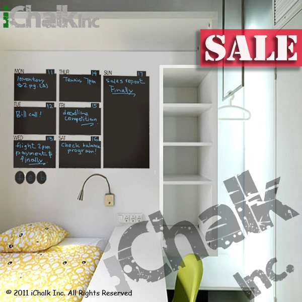 30 off weekly calendar planner chalkboard sticker wall for Lavagne magnetiche ikea