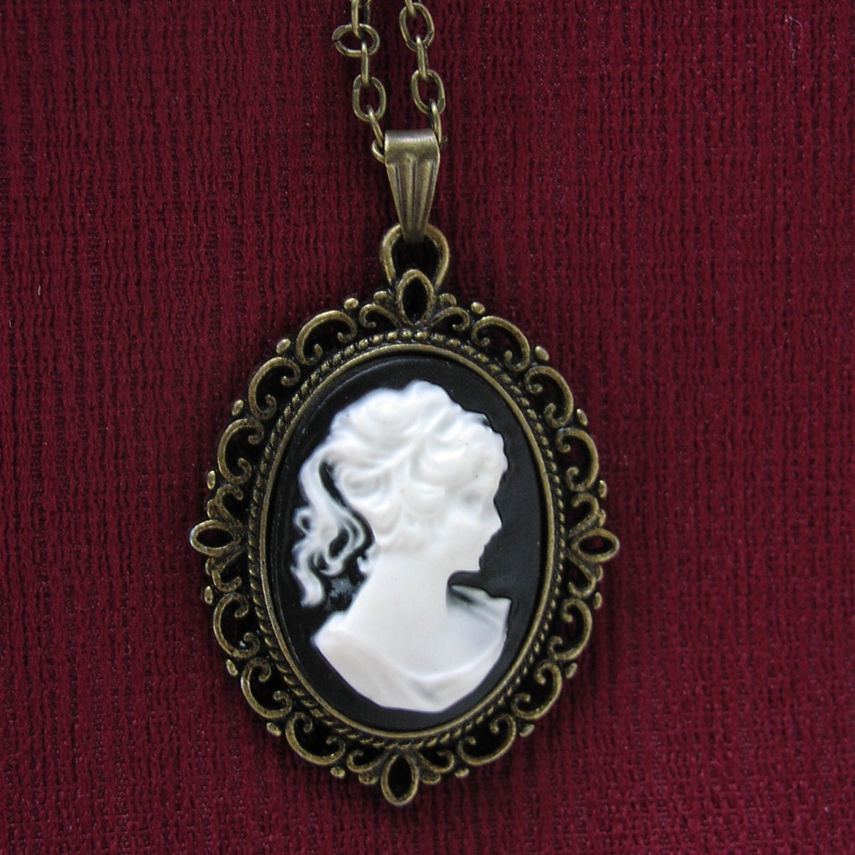 cameo necklace black and white oval cameo
