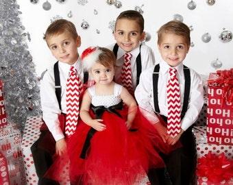 Santa Christmas Tutu Dress Red Black and White