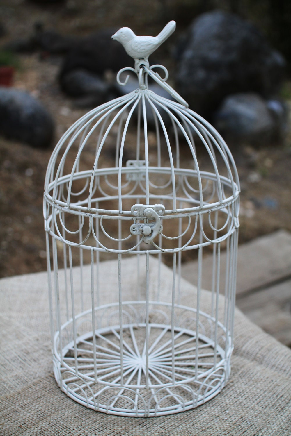 Painted Vintage Wire Bird Cage Decor Or Candle Holder With
