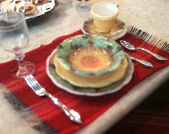 """4 Place Settings of Beautiful 'China', with flatware, 1"""" Scale"""