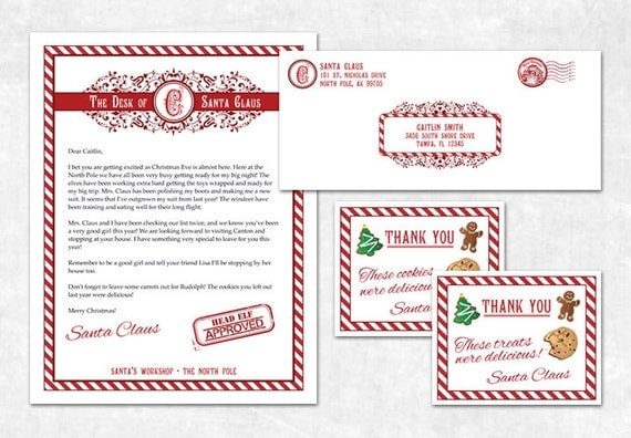 Items similar to 3 piece letter from santa printable items similar to 3 piece letter from santa printable personalized letter thank you cards envelope design on etsy spiritdancerdesigns Gallery
