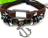 anchor charm leather bracelet jewelry bracelet bangle bracelet ring bracelet