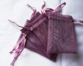25 Plum Organza bags, 4x6 inch