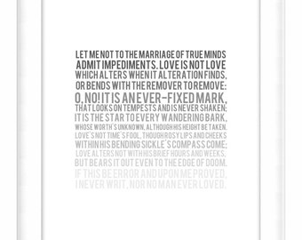 Printable Poster: Grayscale Fade - Sonnet No. 116 - Shakespeare - Vertical 8x10 - Digital Wall Art - Printable Art