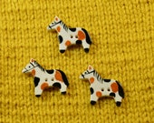 Handpainted ceramic pinto pony buttons, x3