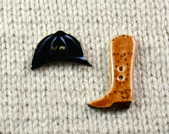 Handpainted ceramic riding hat and cowboot buttons, x2