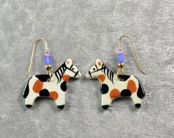 Handpainted ceramic pinto pony earrings w blue glass beads