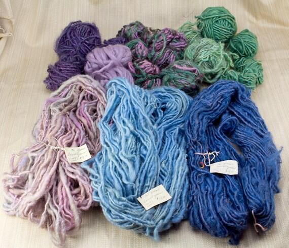 Lot of Hand Spun, Hand Dyed Wool Yarn, Blues, Greens Purples