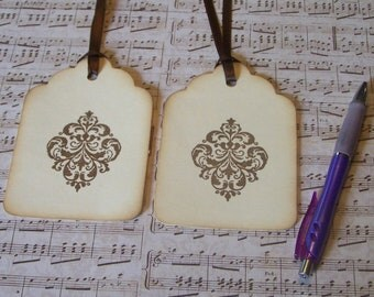 Wedding Wish Tree Vintage Flourish Super Scallop Hang Tags Wedding Shower, Decoration, Favor Tags, DIY Tags, Place / Escort Cards (12)