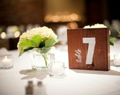 Wood Table Numbers - Hand painted, modern rustic, wooden, square, autumn, fall, wedding table numbers