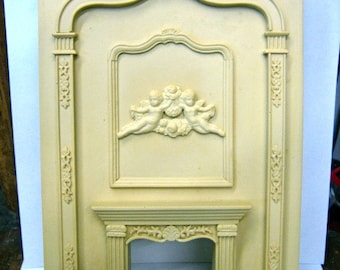 Dollhouse Miniature Grand Fireplace Besque Style with Cherubs