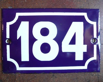 vintage French house number 184 enamel blue and white