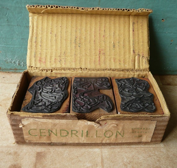 French Cinderella Rubber Stamps Set vintage in original box