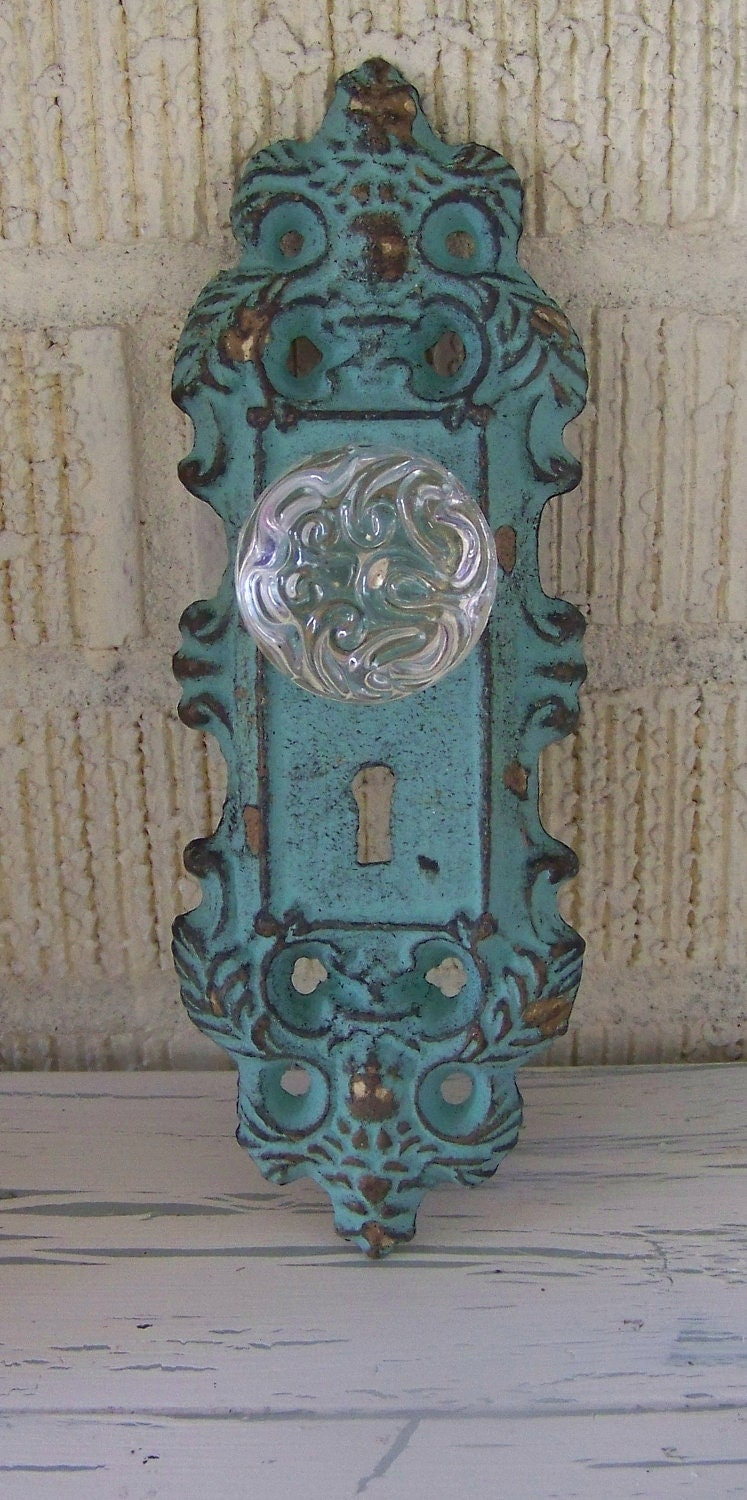 Vintage Inspired Decorative Cast Iron Door Plate And Glass