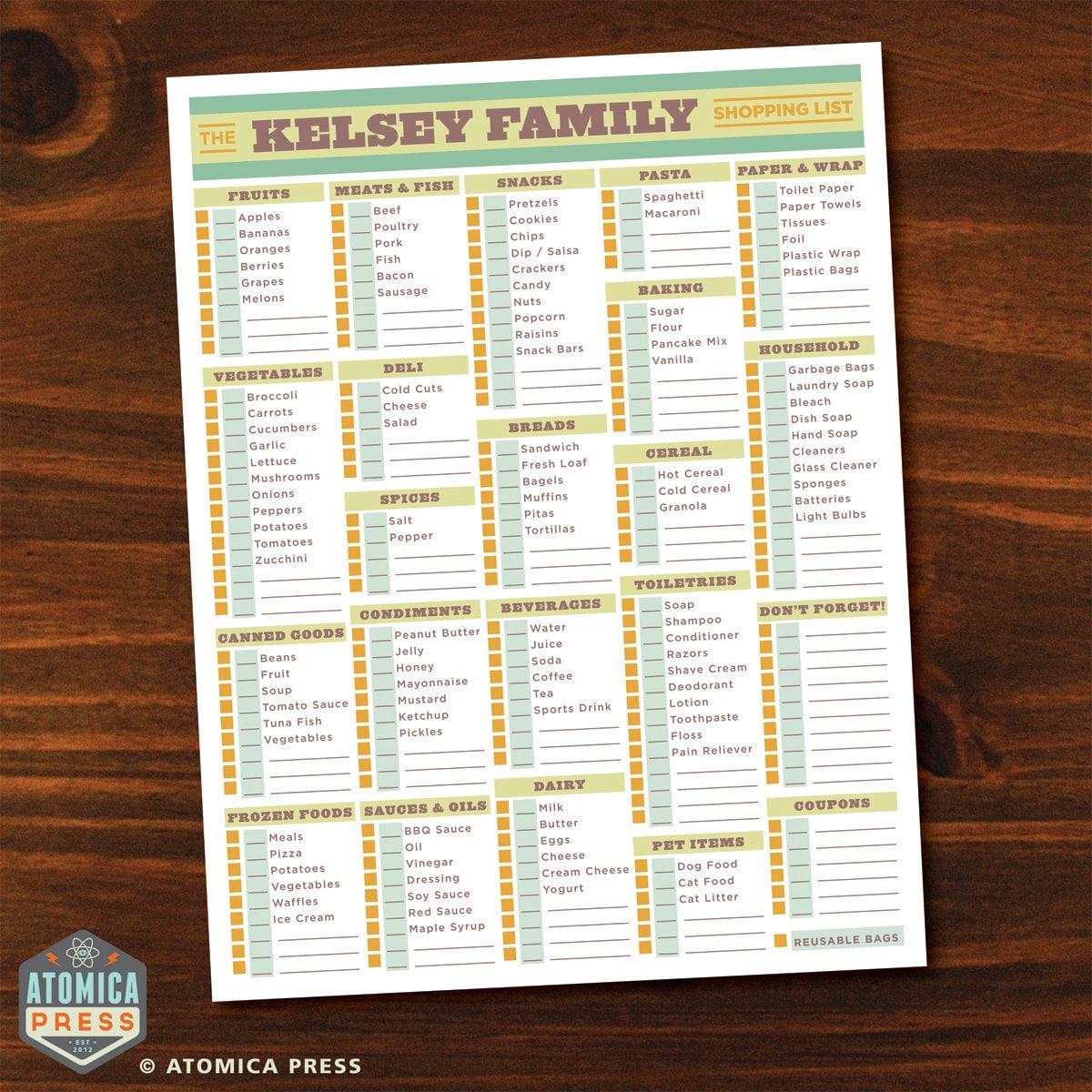 Printable Grocery List Printable Shopping List – Grocery List Organizer Template