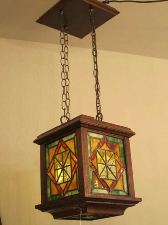 arts crafts era stained glass hanging light by retropolitanltd. Black Bedroom Furniture Sets. Home Design Ideas