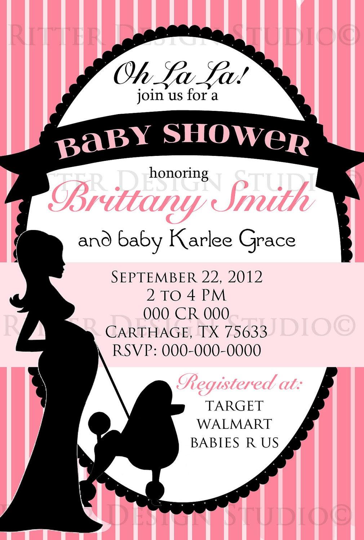 paris themed chic baby shower invitation by ritterdesignstudio