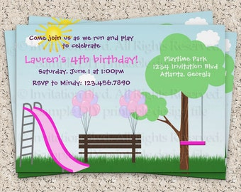 Kids Park Invitation - Playground Invitation - Park Birthday Party - Playground Birthday Party - Party Printable Invitation