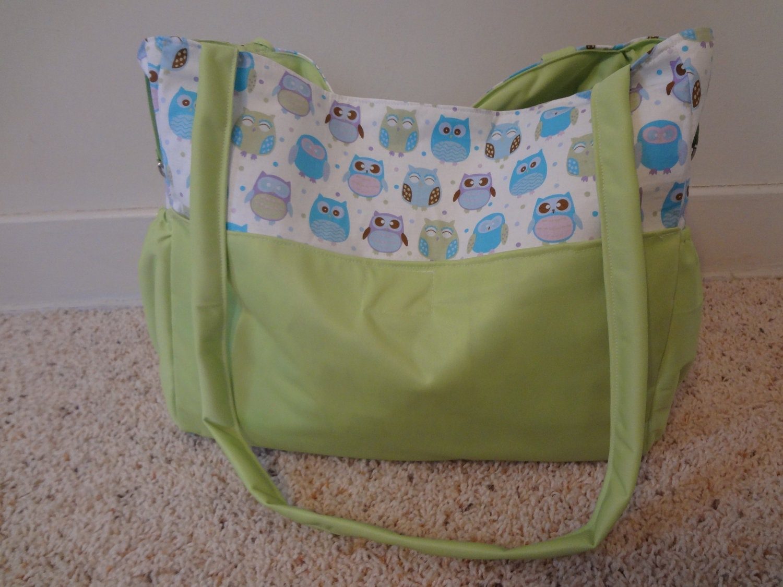 owl diaper bag changing pad by bigglebottoms on etsy. Black Bedroom Furniture Sets. Home Design Ideas