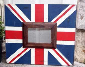 hand painted custom union jack distressed 4x6 wood frame walnut trim | masculine gift | gift for him | british accent | flag decor |