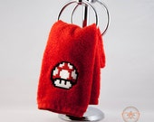 Super Mario Bros. Red Mushroom Inspired - Embroidered Hand Towel