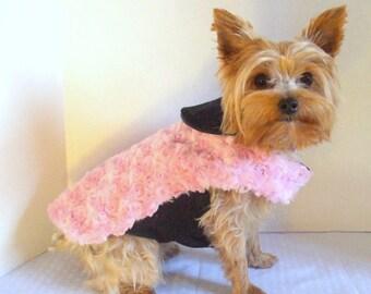 Dog Coat, Fur Pink with Mink Collar