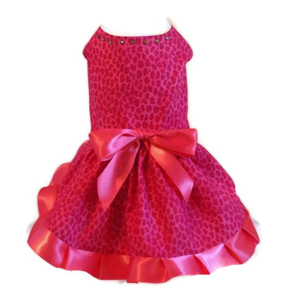 Dog Dress, Hot pink Cheetah